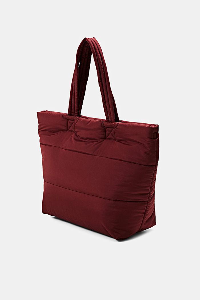 En matière recyclée: cabas au look matelassé, BORDEAUX RED, detail image number 2
