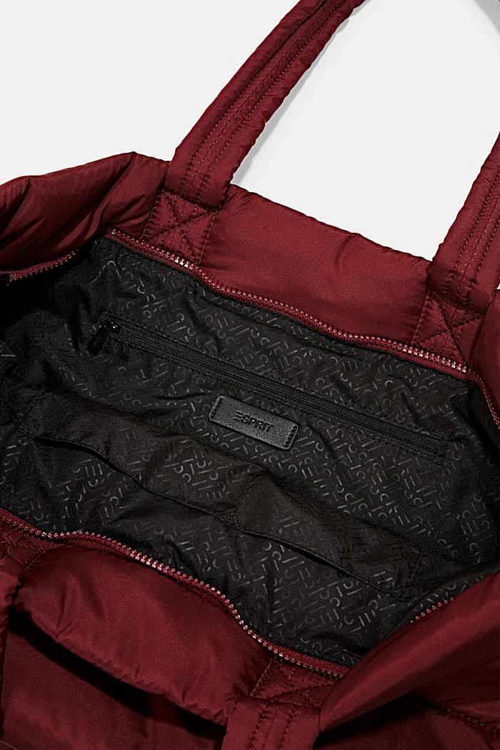 En matière recyclée: cabas au look matelassé, BORDEAUX RED, detail image number 4