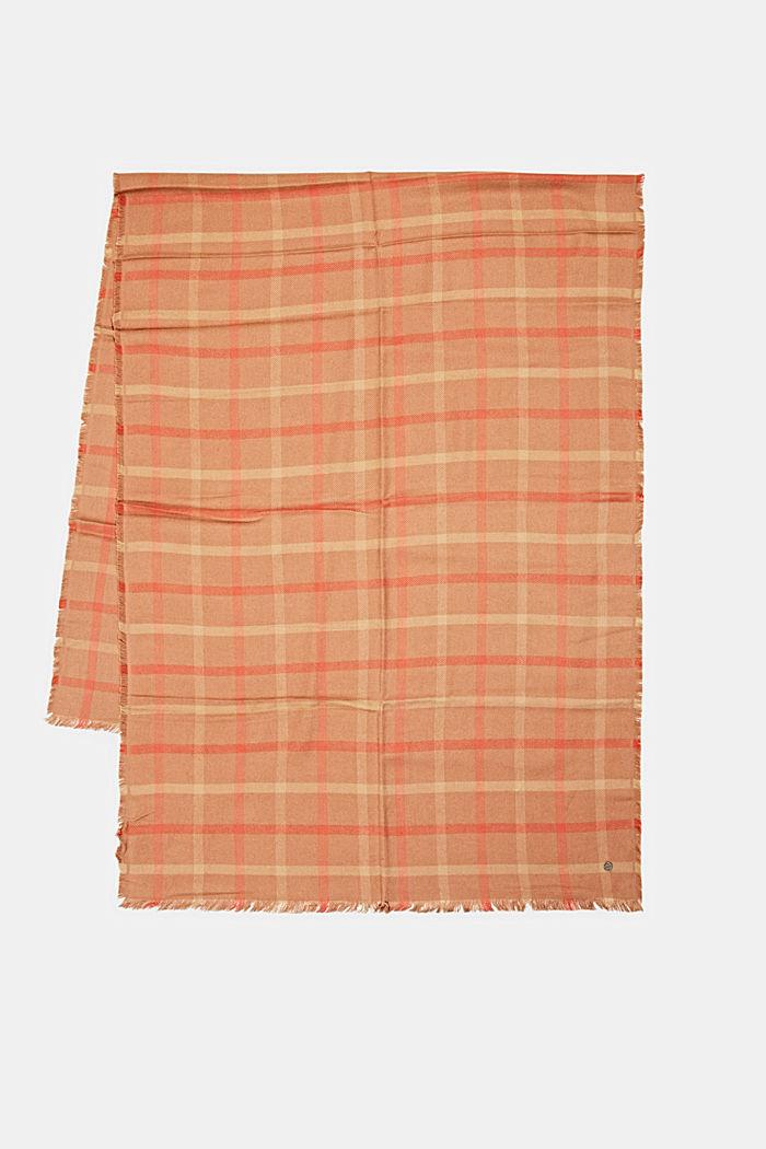Geweven sjaal met ruitmotief, LENZING™ ECOVERO™, CARAMEL, detail image number 3