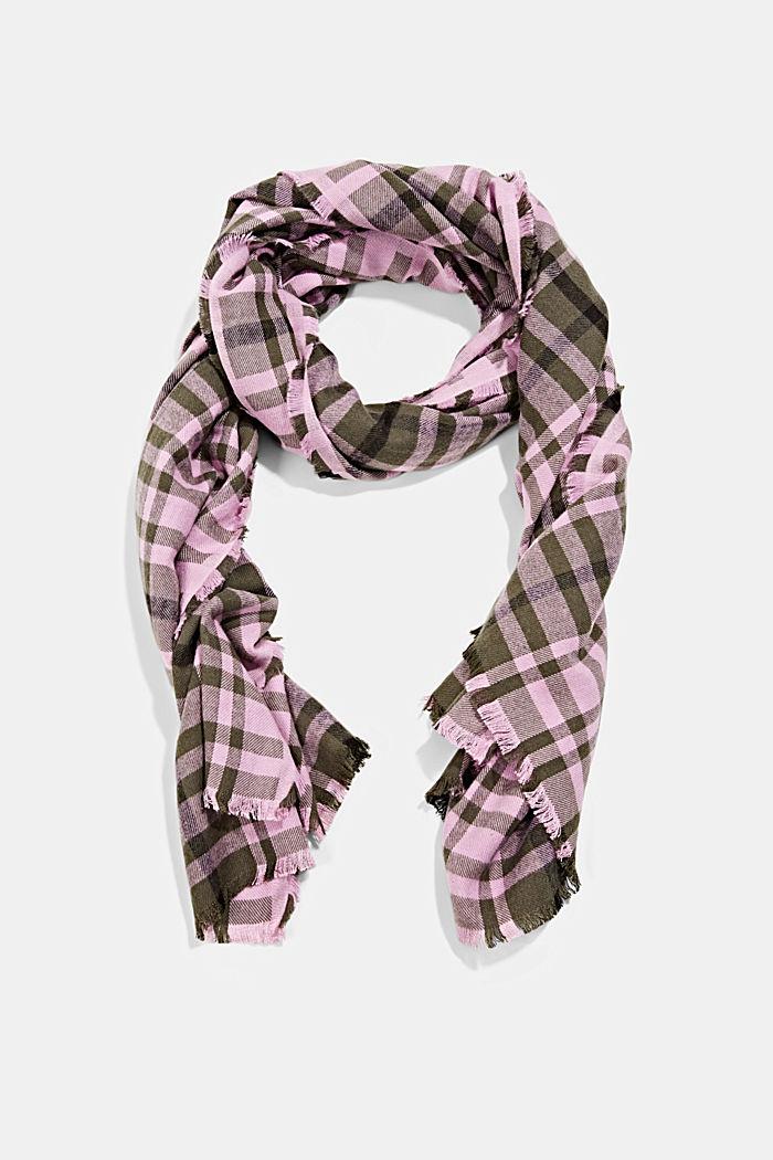 Geweven sjaal met ruitmotief, LENZING™ ECOVERO™, DARK KHAKI, detail image number 0