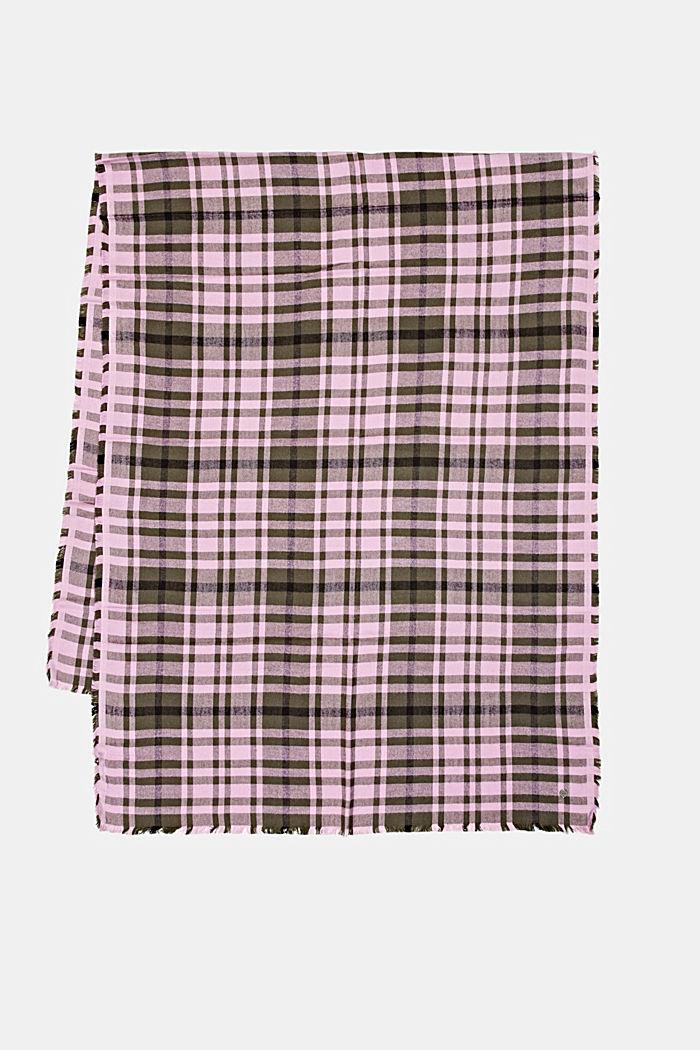 Geweven sjaal met ruitmotief, LENZING™ ECOVERO™, DARK KHAKI, detail image number 4