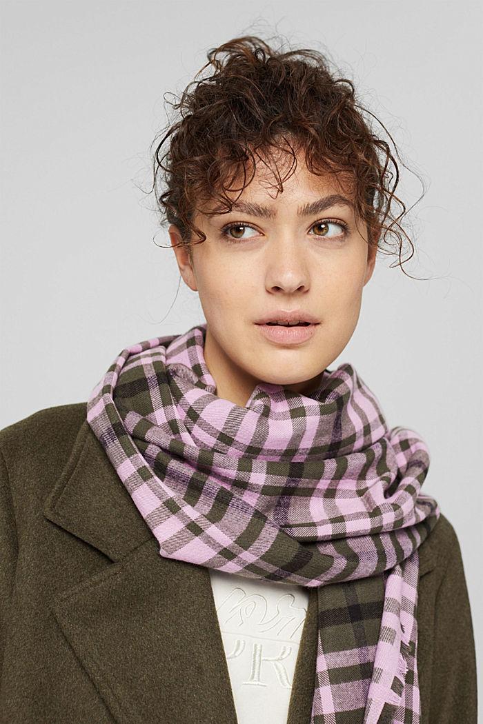 Geweven sjaal met ruitmotief, LENZING™ ECOVERO™, DARK KHAKI, detail image number 3