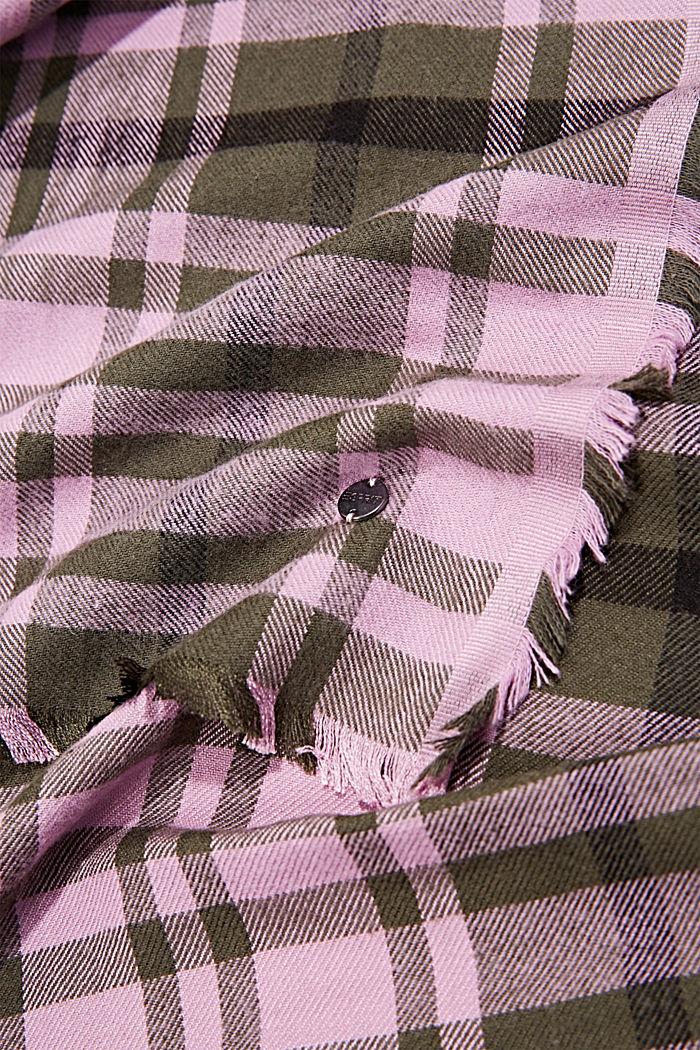 Geweven sjaal met ruitmotief, LENZING™ ECOVERO™, DARK KHAKI, detail image number 2