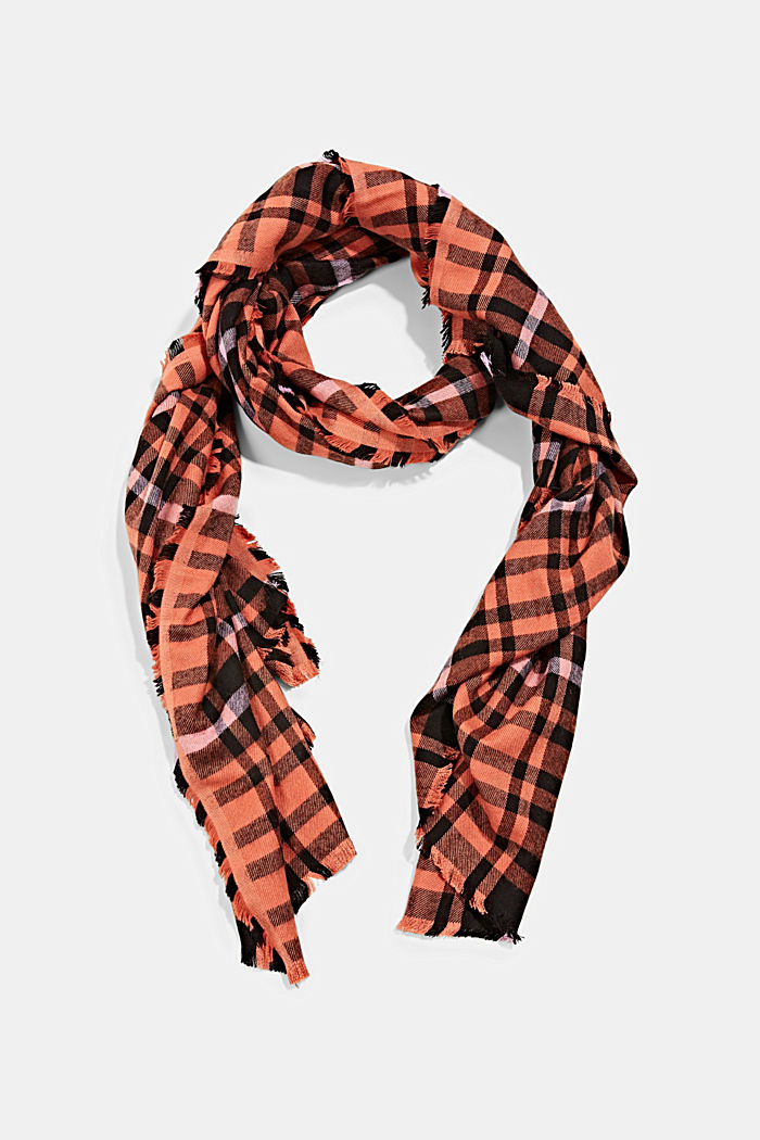 Geweven sjaal met ruitmotief, LENZING™ ECOVERO™, TERRACOTTA, detail image number 0