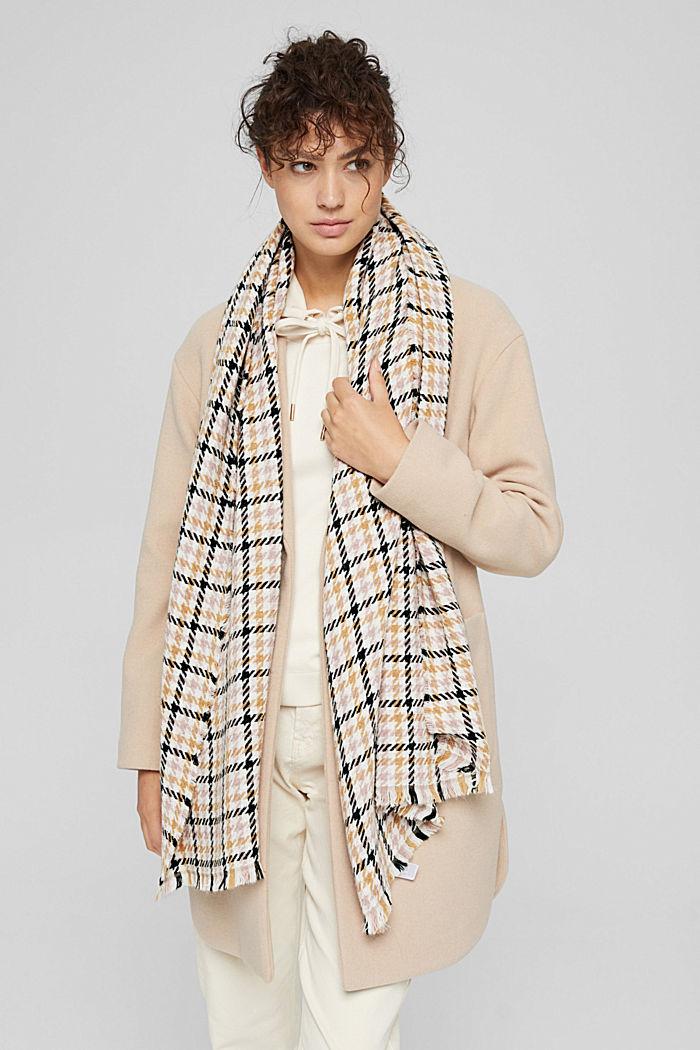 À teneur en laine/alpaga: écharpe à motif pied-de-poule