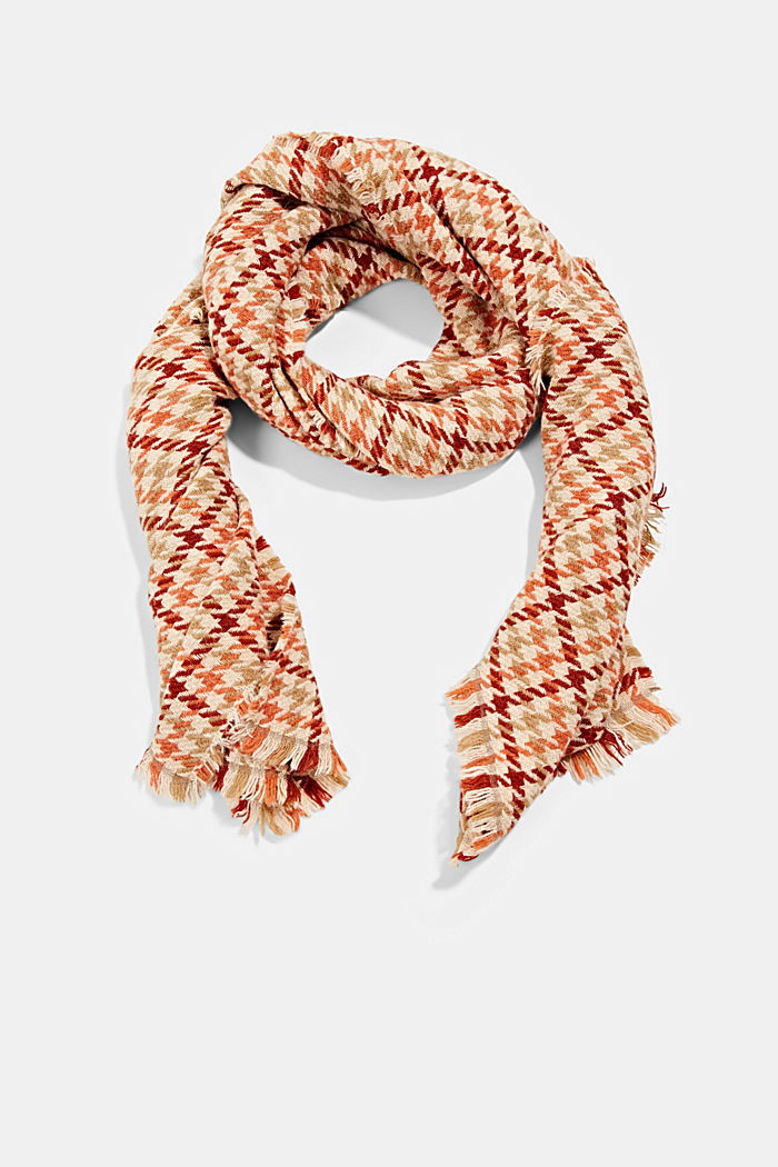 À teneur en laine/alpaga: écharpe à motif pied-de-poule, TERRACOTTA, detail image number 0