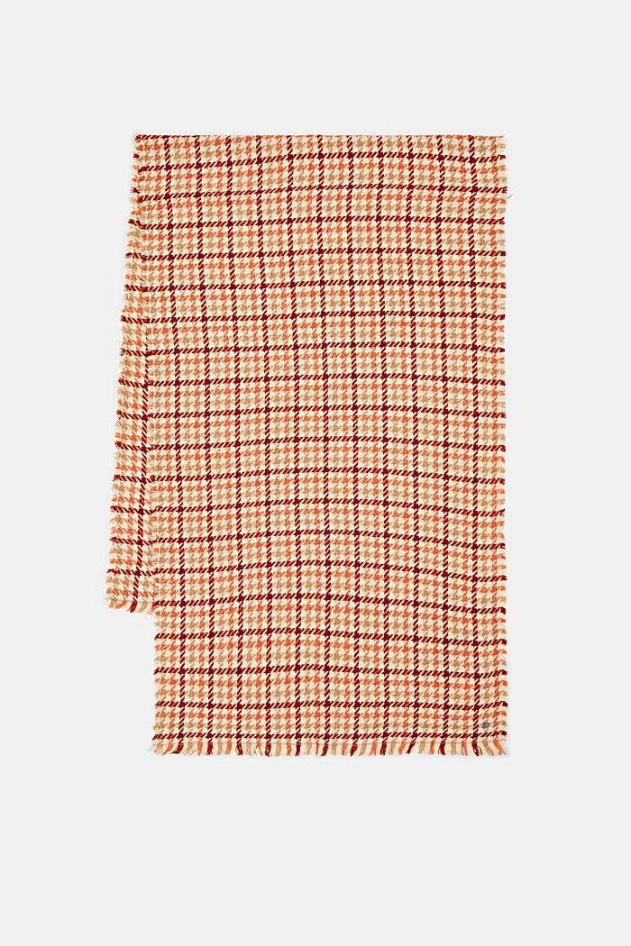 À teneur en laine/alpaga: écharpe à motif pied-de-poule, TERRACOTTA, detail image number 4
