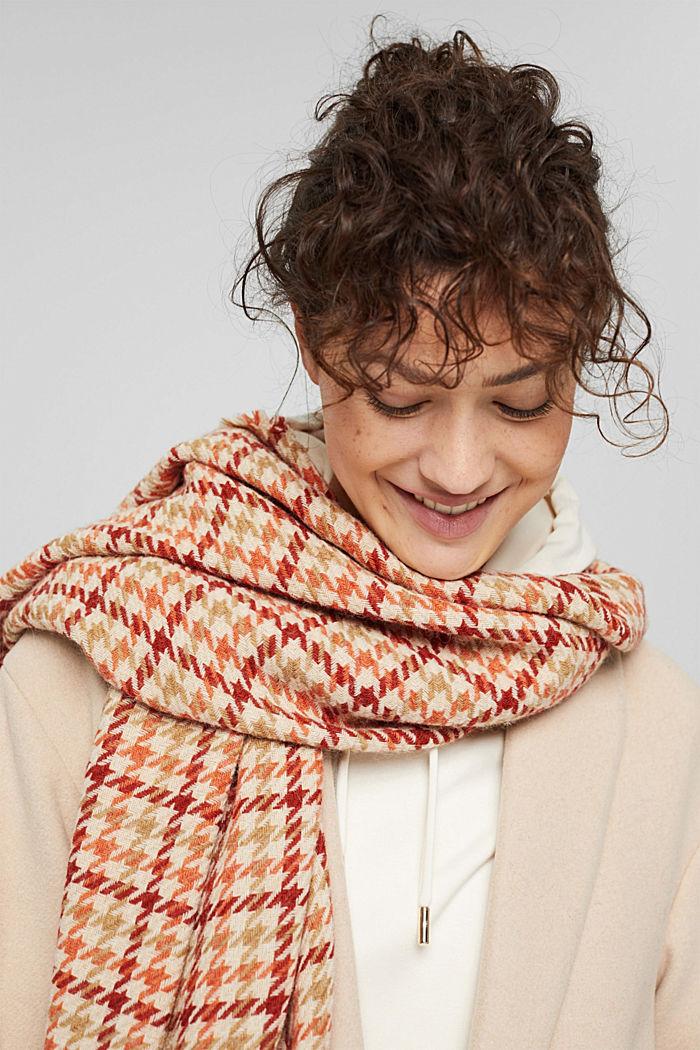 À teneur en laine/alpaga: écharpe à motif pied-de-poule, TERRACOTTA, detail image number 3