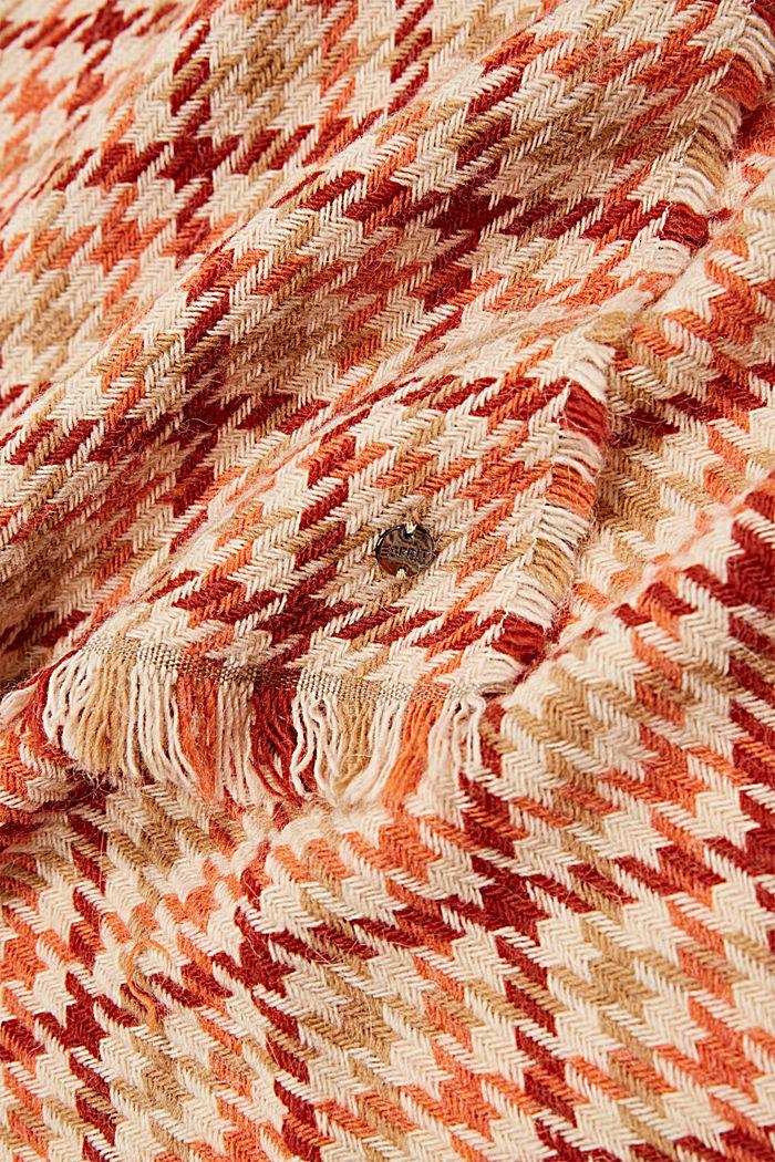 À teneur en laine/alpaga: écharpe à motif pied-de-poule, TERRACOTTA, detail image number 2