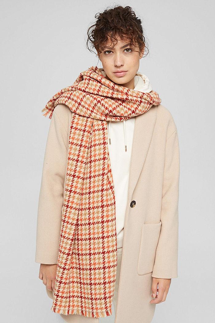 À teneur en laine/alpaga: écharpe à motif pied-de-poule, TERRACOTTA, detail image number 1