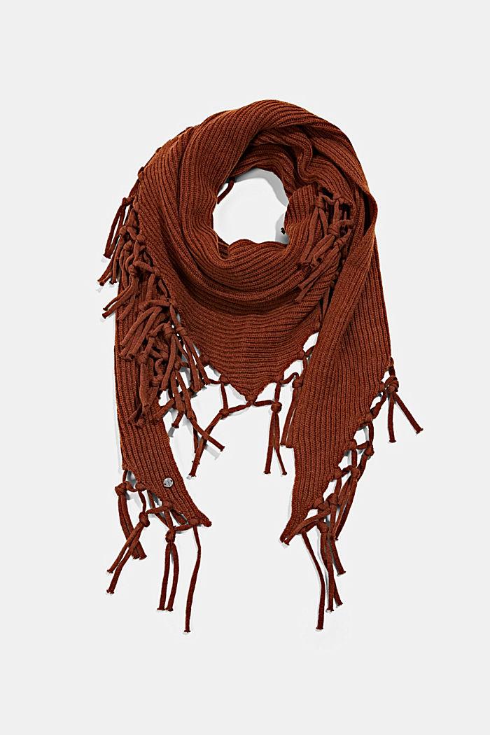 Écharpe triangulaire en maille à teneur en laine RWS, RUST BROWN, detail image number 0