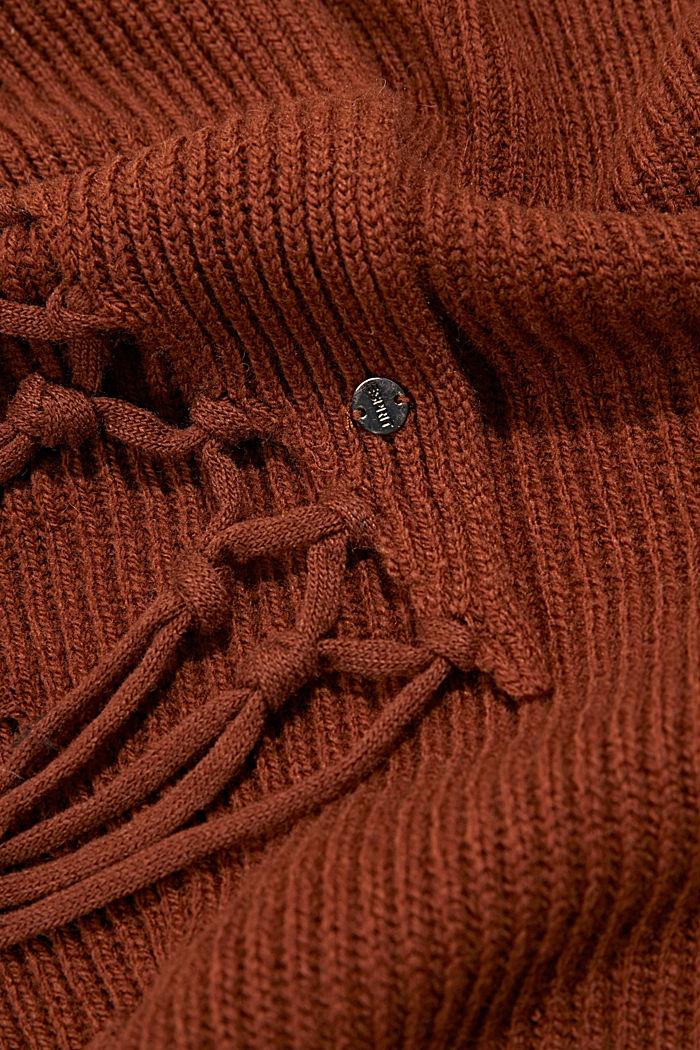 Écharpe triangulaire en maille à teneur en laine RWS, RUST BROWN, detail image number 2