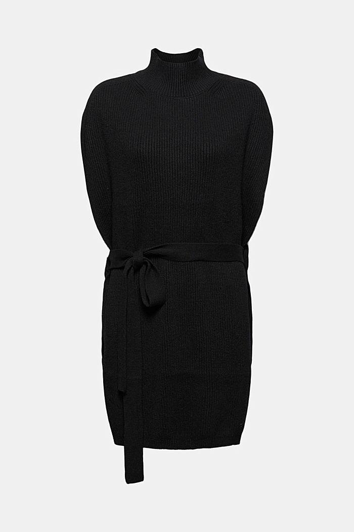 Responsible Wool: Poncho mit Gürtel, BLACK, detail image number 0