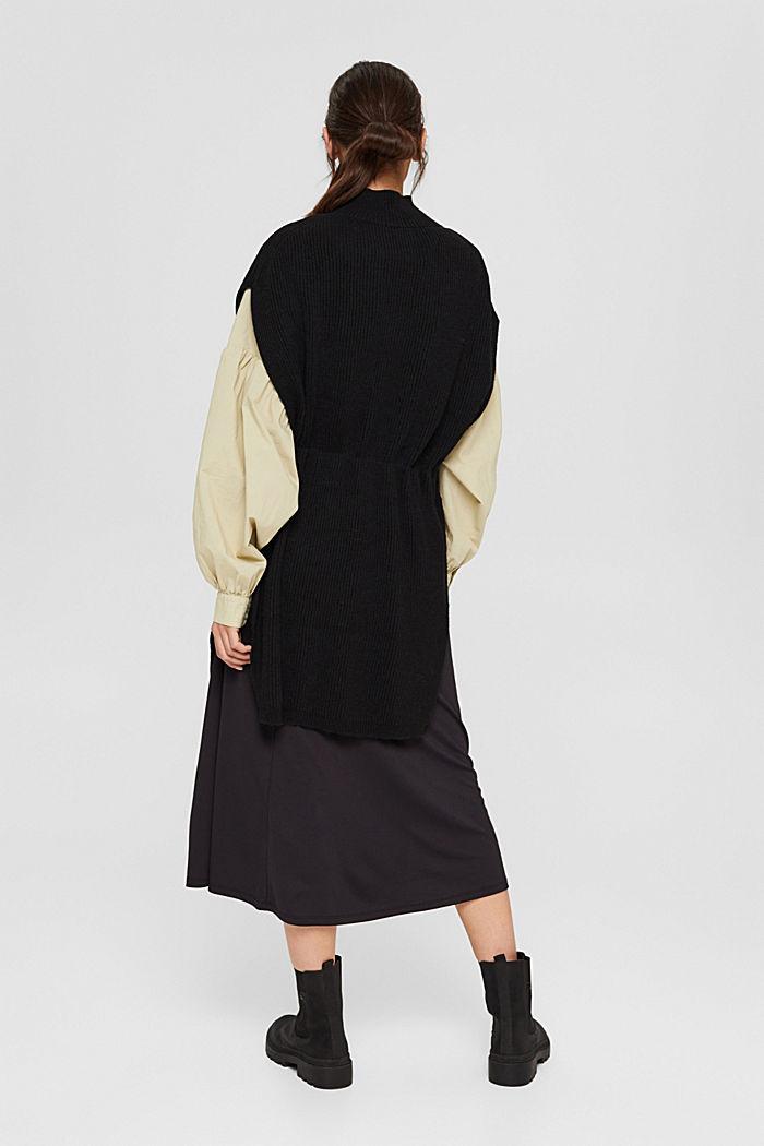Responsible Wool: Poncho mit Gürtel, BLACK, detail image number 3