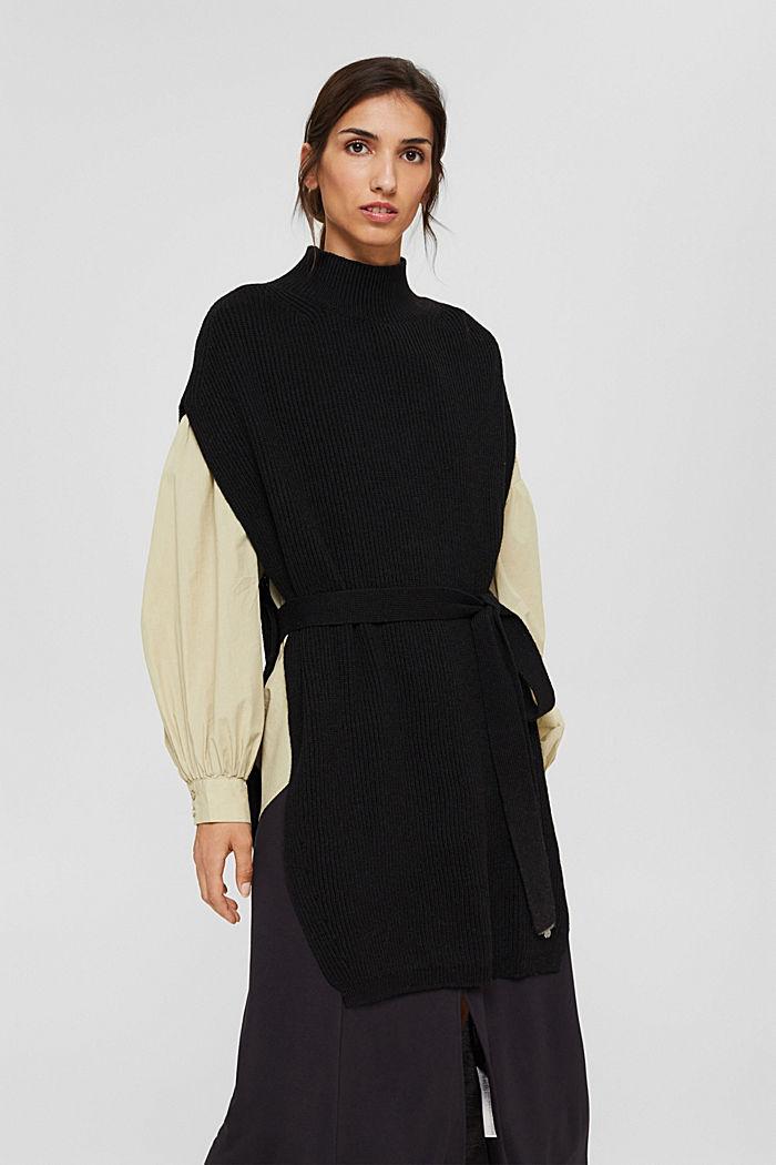 Responsible Wool: Poncho mit Gürtel, BLACK, detail image number 1