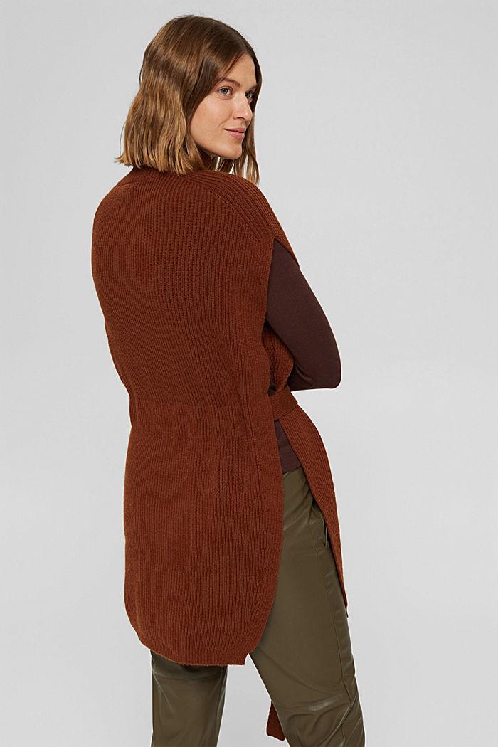 Responsible Wool: Poncho mit Gürtel, RUST BROWN, detail image number 3