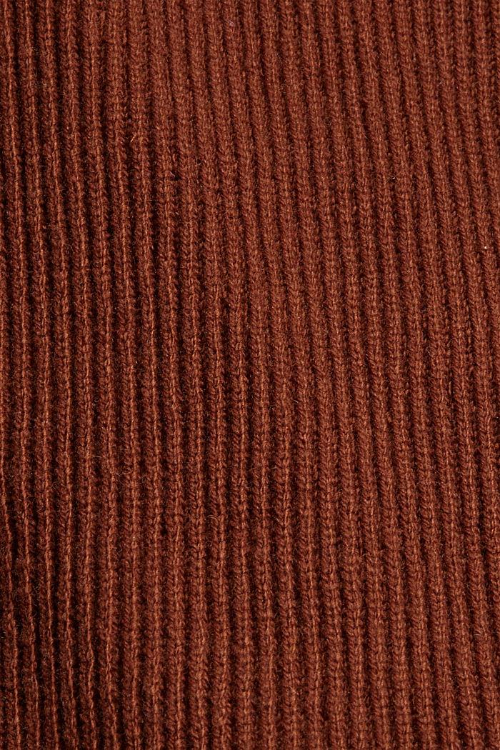 Responsible Wool: Poncho mit Gürtel, RUST BROWN, detail image number 2