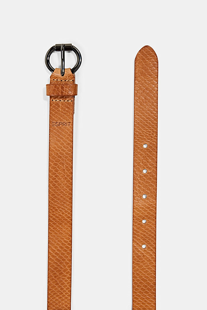 Made of genuine leather: narrow belt, RUST BROWN, detail image number 1