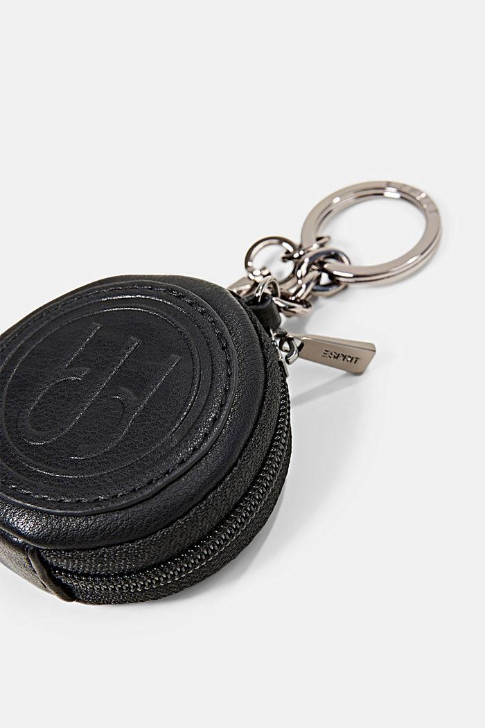 Imitatieleren portemonneetje met karabijnhaak, BLACK, detail image number 1