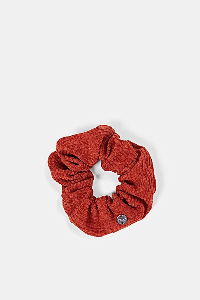 Scrunchie van corduroy, GARNET RED, detail image number 0