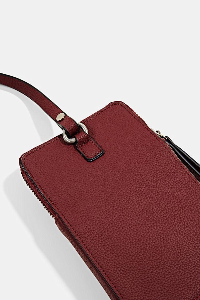 Phone Bag in Lederoptik, vegan, BORDEAUX RED, detail image number 1
