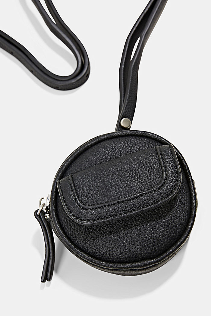Mini-Schultertasche in Lederoptik, vegan, BLACK, detail image number 1