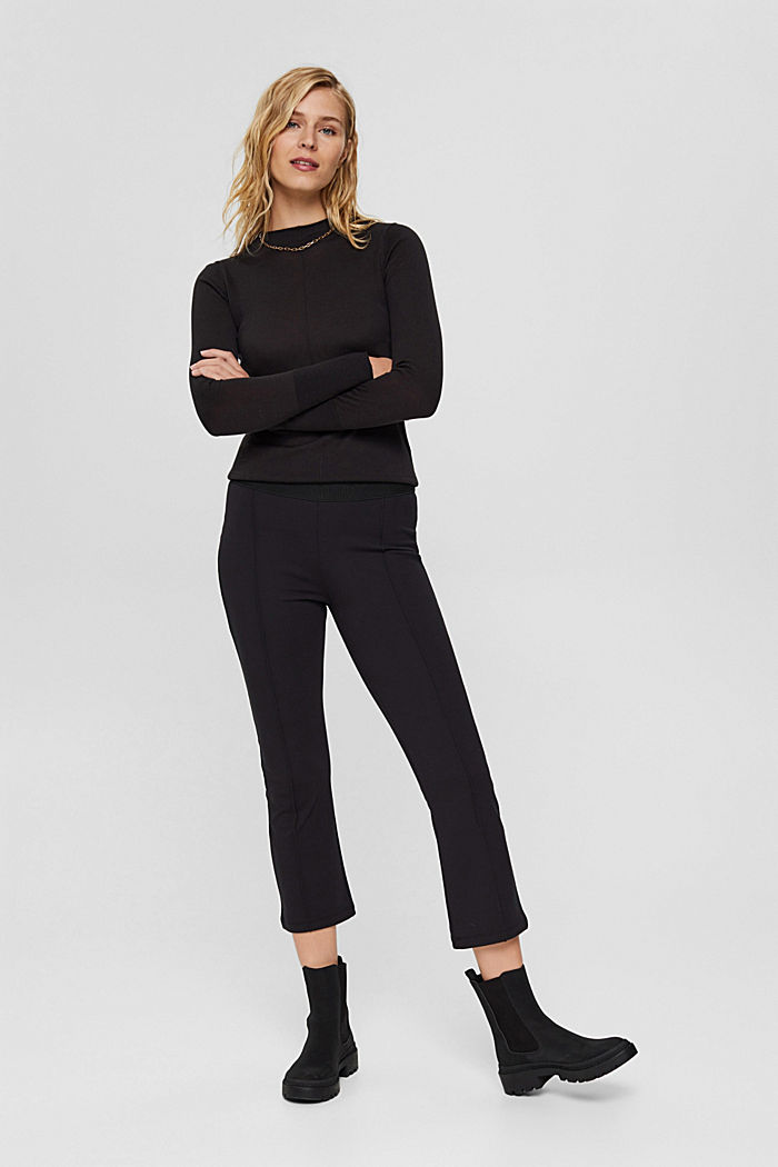 Recycled: cropped trousers in punto jersey, BLACK, detail image number 0