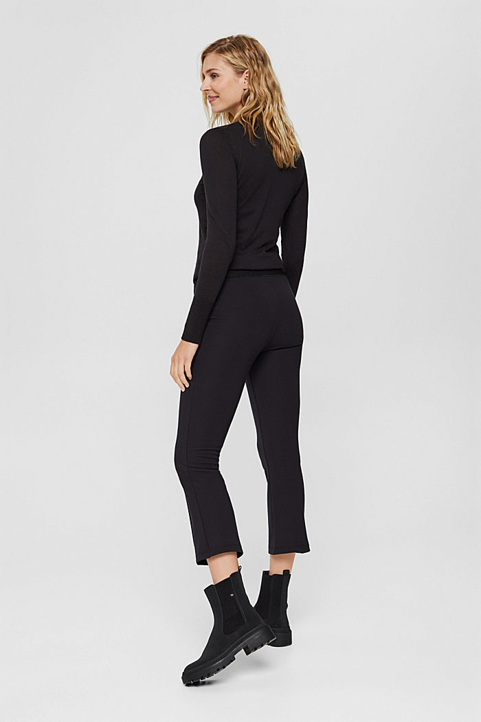 Recycled: cropped trousers in punto jersey, BLACK, detail image number 3