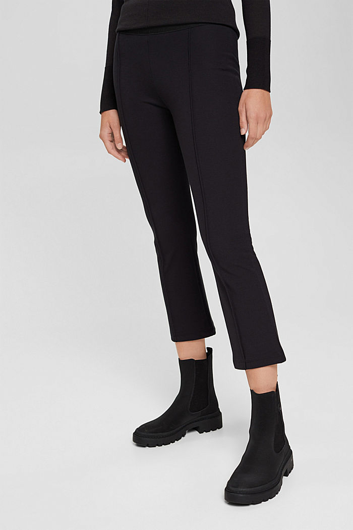 Recycled: cropped trousers in punto jersey, BLACK, detail image number 5
