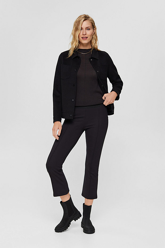 Recycled: cropped trousers in punto jersey, BLACK, detail image number 1