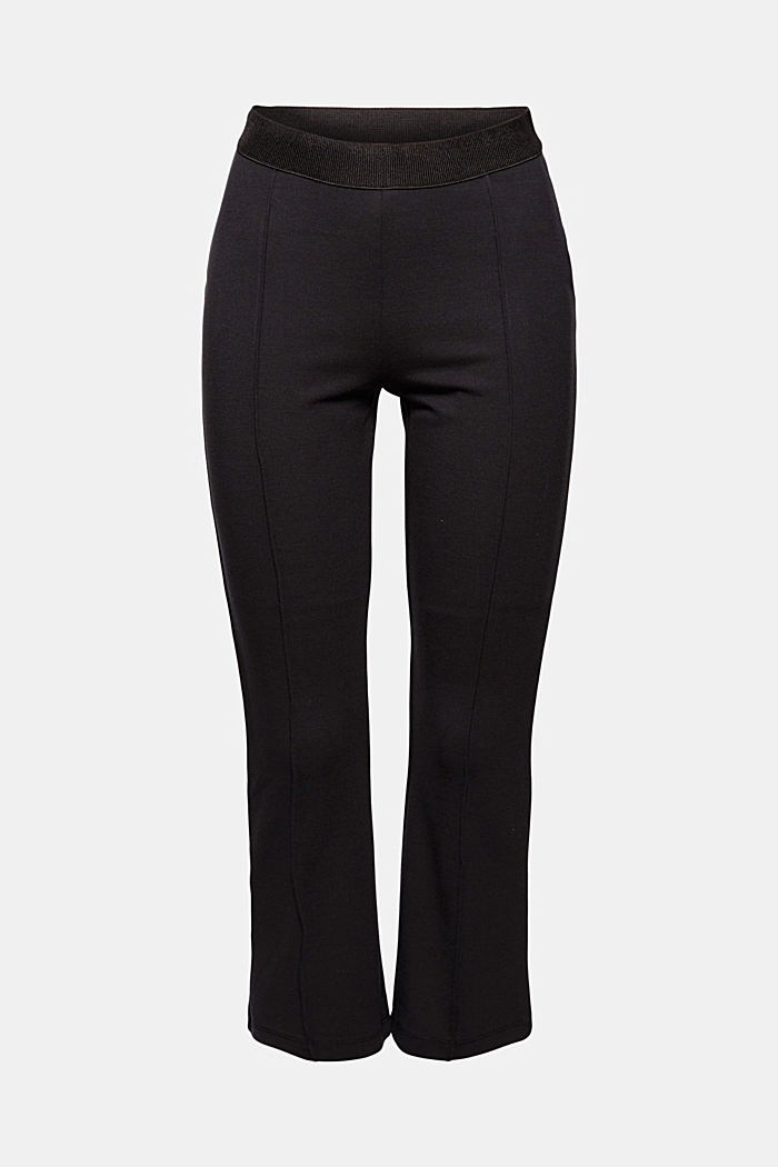 Recycled: cropped trousers in punto jersey, BLACK, detail image number 6