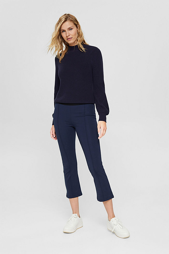 Recycelt: Cropped Hose aus Punto-Jersey, NAVY, detail image number 0
