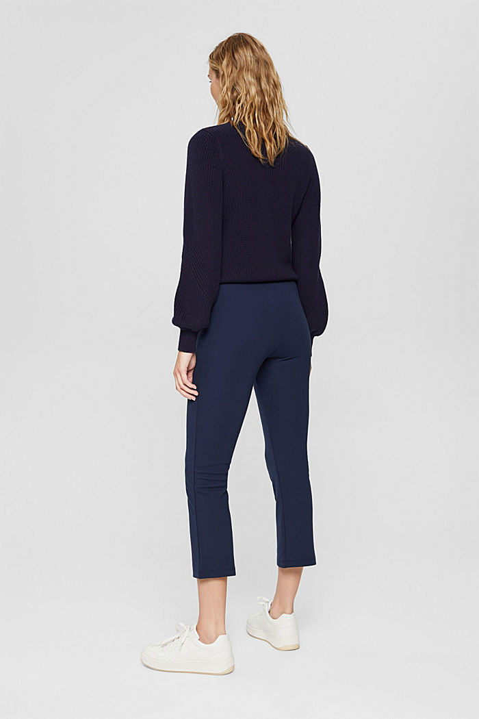 Recycelt: Cropped Hose aus Punto-Jersey, NAVY, detail image number 3