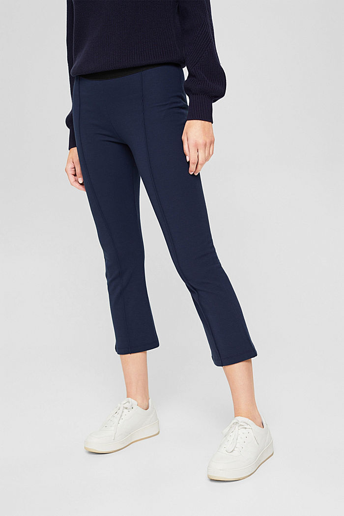 Recycelt: Cropped Hose aus Punto-Jersey, NAVY, detail image number 6