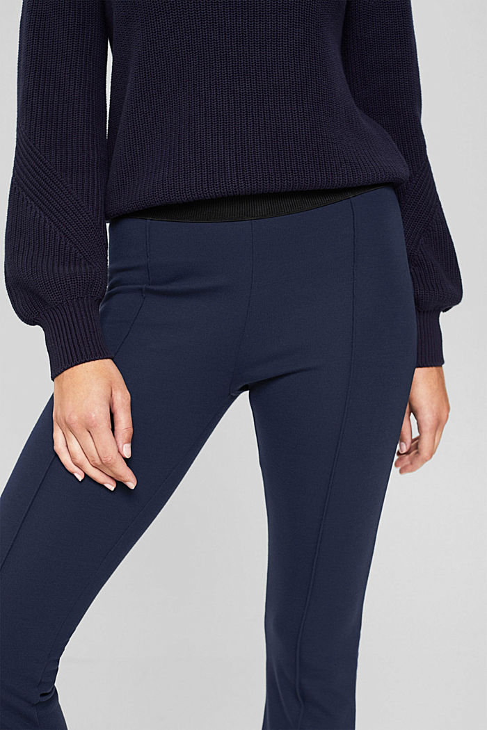 Recycelt: Cropped Hose aus Punto-Jersey, NAVY, detail image number 2