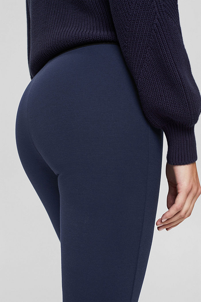 Recycelt: Cropped Hose aus Punto-Jersey, NAVY, detail image number 5