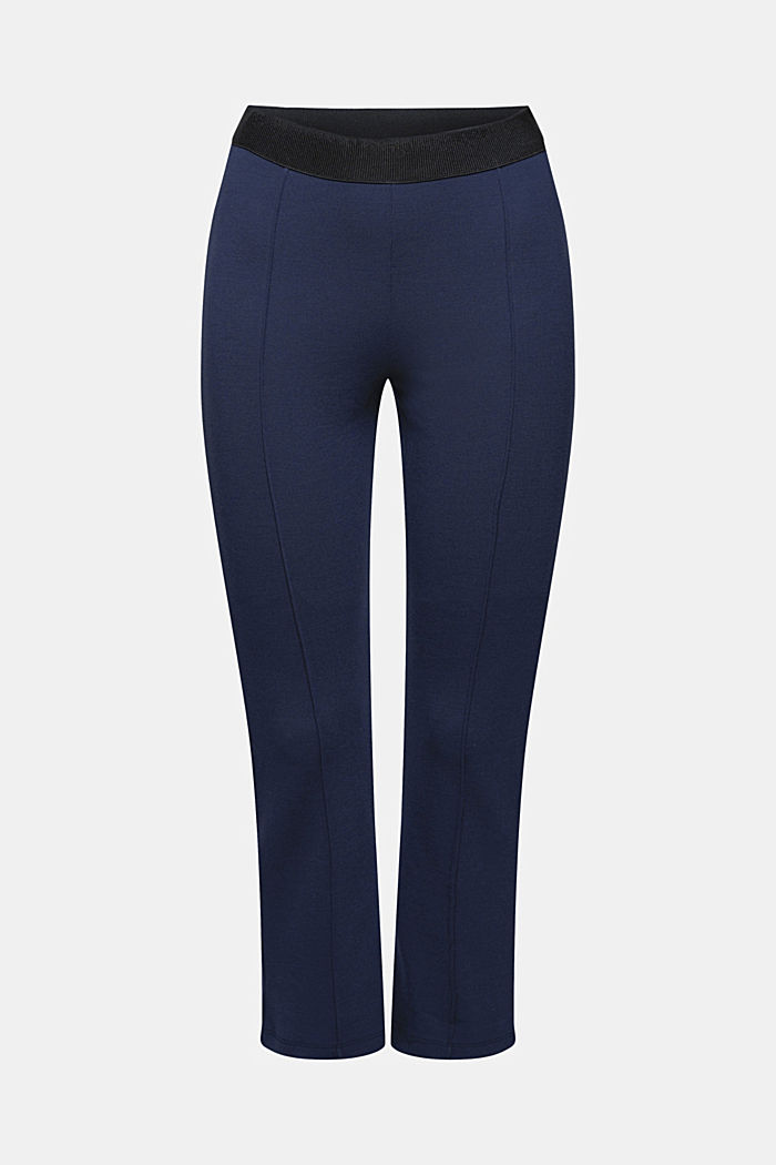 Recycelt: Cropped Hose aus Punto-Jersey, NAVY, detail image number 7