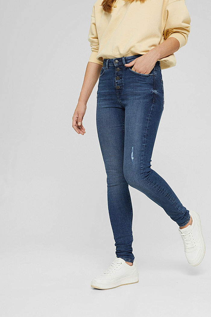 Super stretchy jeans with button fly, organic cotton, BLUE DARK WASHED, detail image number 0