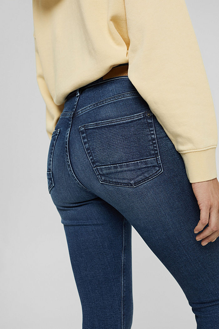 Super stretchy jeans with button fly, organic cotton, BLUE DARK WASHED, detail image number 5