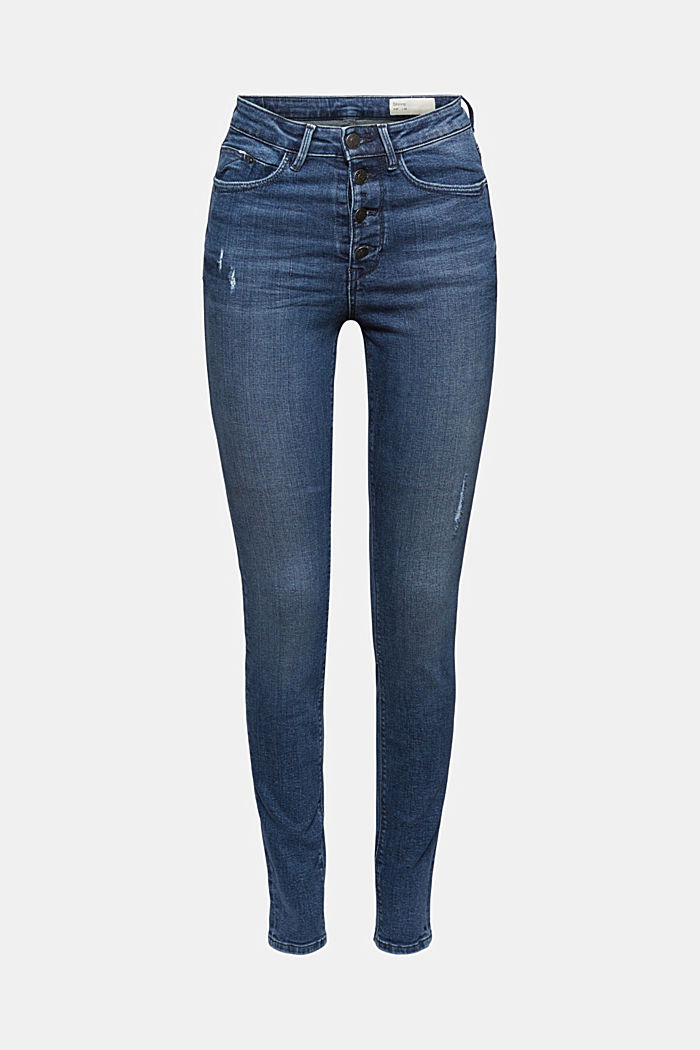 Super stretchy jeans with button fly, organic cotton