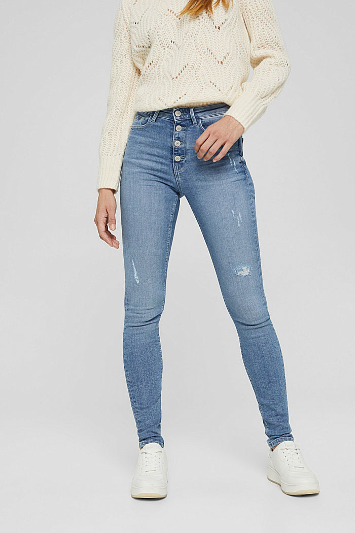Super stretchy jeans with button fly, organic cotton, BLUE LIGHT WASHED, detail image number 0