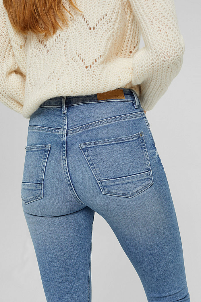 Super stretchy jeans with button fly, organic cotton, BLUE LIGHT WASHED, detail image number 5