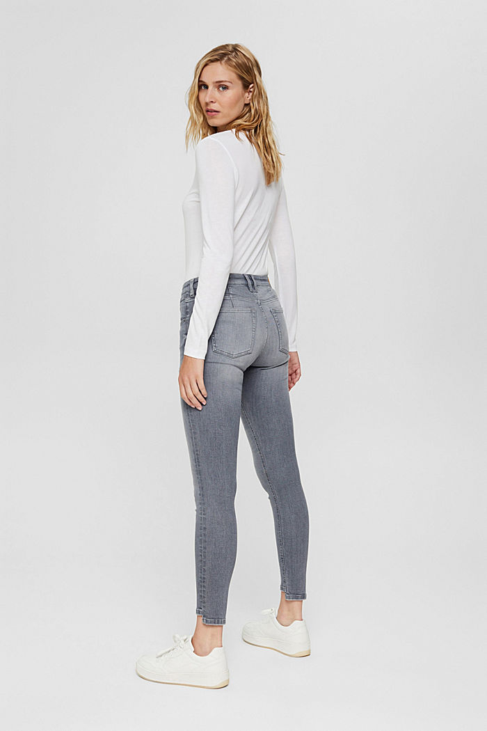 Stretch jeans in organic cotton, GREY MEDIUM WASHED, detail image number 3