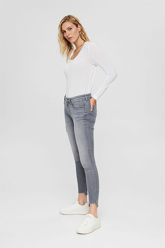 Stretch jeans in organic cotton, GREY MEDIUM WASHED, detail image number 5