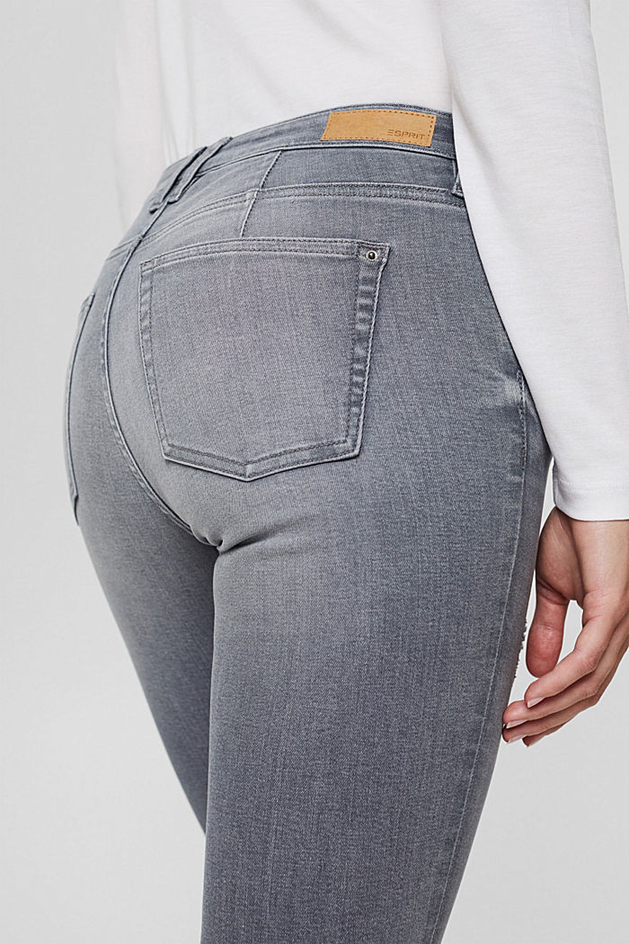 Stretch jeans in organic cotton, GREY MEDIUM WASHED, detail image number 6