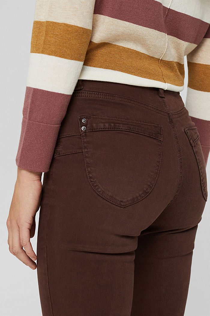 Shaping trousers with a high-rise waistband, organic cotton, RUST BROWN, detail image number 2