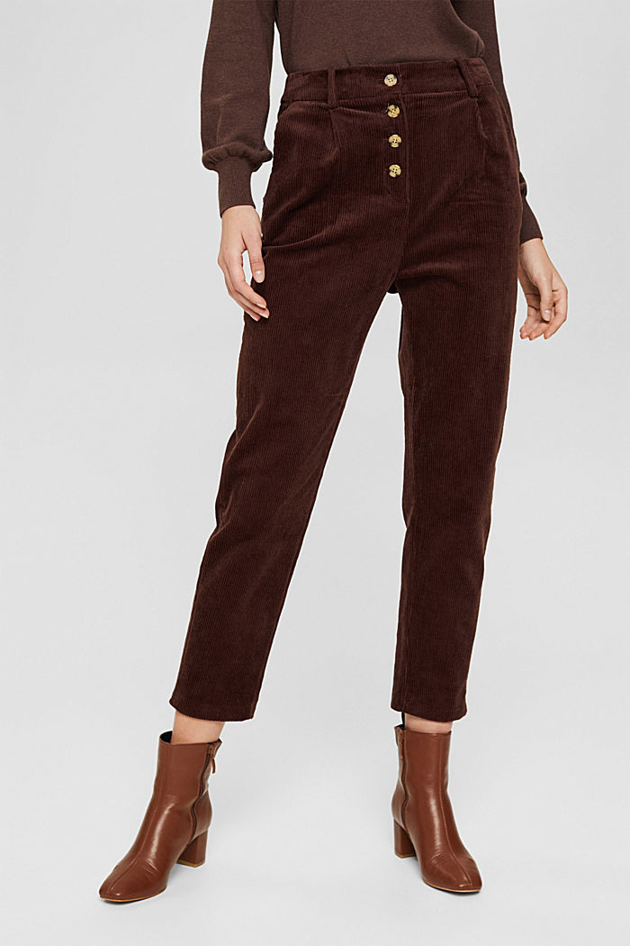 Corduroy trousers with a button fly made of 100% cotton, RUST BROWN, detail image number 0