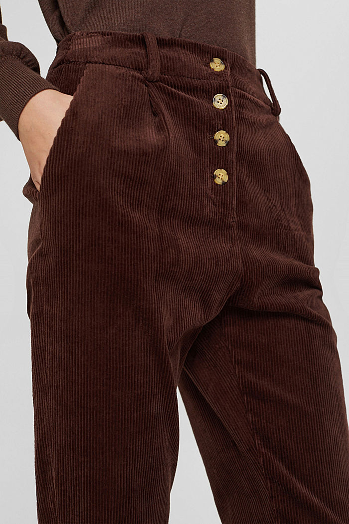 Corduroy trousers with a button fly made of 100% cotton, RUST BROWN, detail image number 2