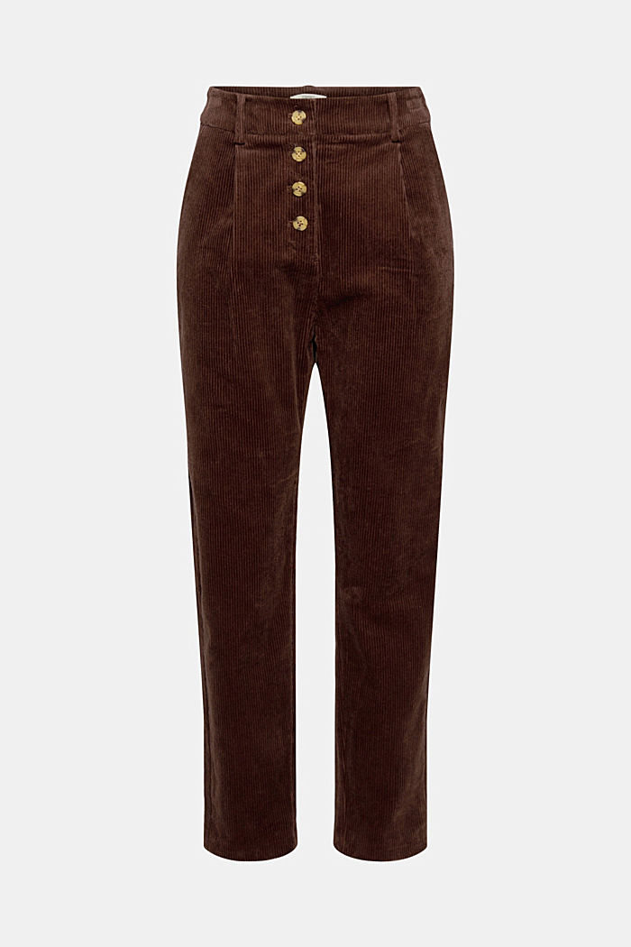 Corduroy trousers with a button fly made of 100% cotton, RUST BROWN, detail image number 7