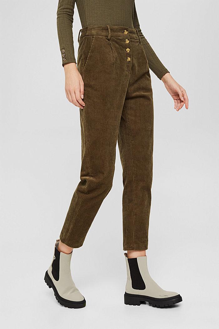 Pantalon en velours côtelé à braguette boutonnée, 100% coton, DARK KHAKI, detail image number 0